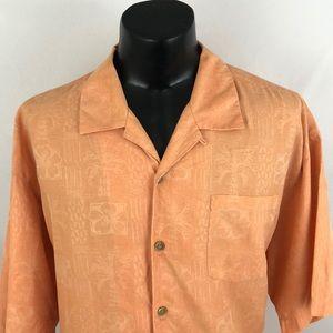 Tommy Bahama Hawaiian Shirt Orange Silk XLX XXL